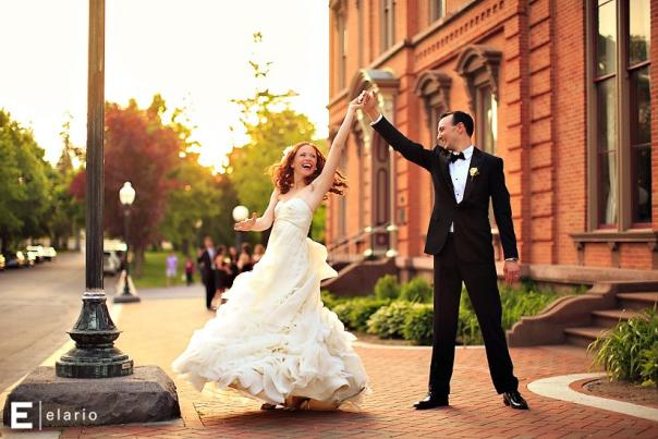 Couple dancing outside the Canfield Casino in Saratoga Springs on their wedding day
