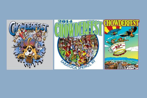 Logos on blue background