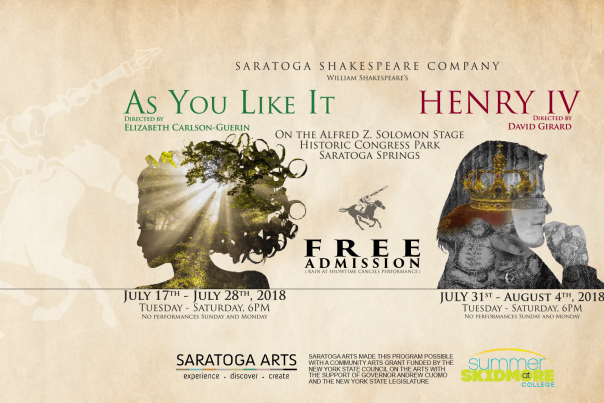 Saratoga Shakespeare Company 2018 promo with As You Like It and Henry IV FREE ADMISSION