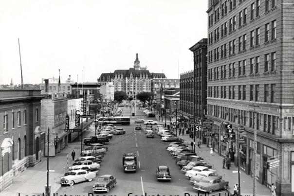 B-2051, Courtesy of Saskatoon Public Library. A bird's eye view of 21st Street East in 1955.