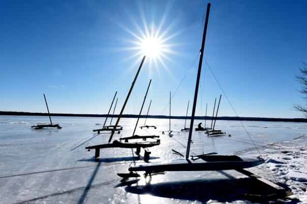 Iceboating in northern Michigan