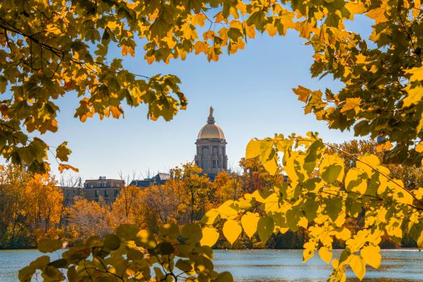 A fall foliage photo at the University of Notre Dame