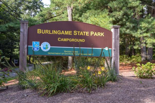 The campground entrance sign at Burlingame State Park in Charlestown.