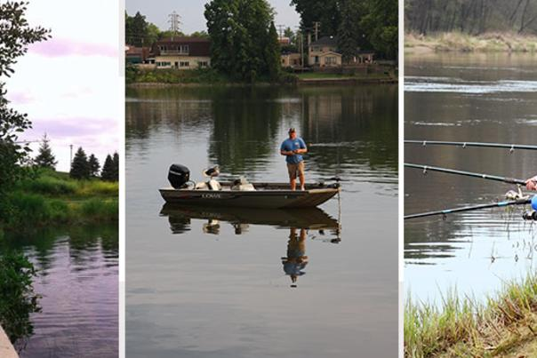 Collage of people fishing at Indiana lakes and rivers along the South Shore
