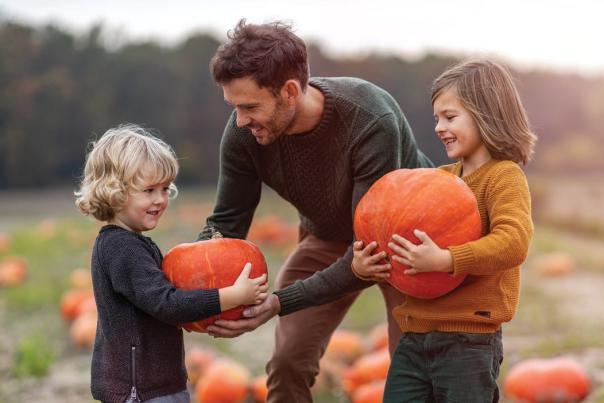 Family picking pumpkins at Fair Oaks Farms