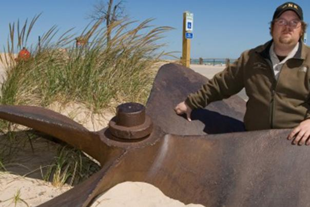 Shipwrecked in Lake Michigan - JD Marshall propeller - NWI Times photo