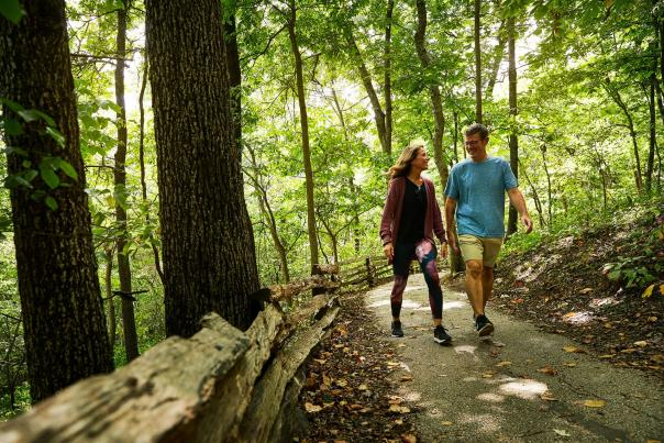 Couple walking through The Springfield Conservation Nature Center