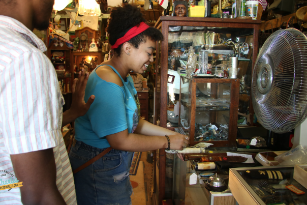 Man and woman shopping at an antique store in St. Charles, MO