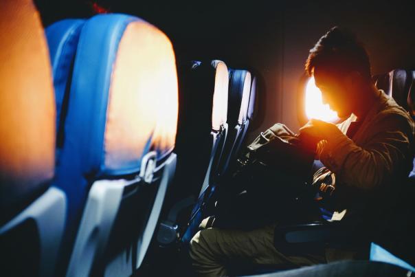 Traveler on airplane