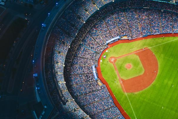 An aerial view of the Blue Jays baseball diamond at Rogers Centre with the dome roof open