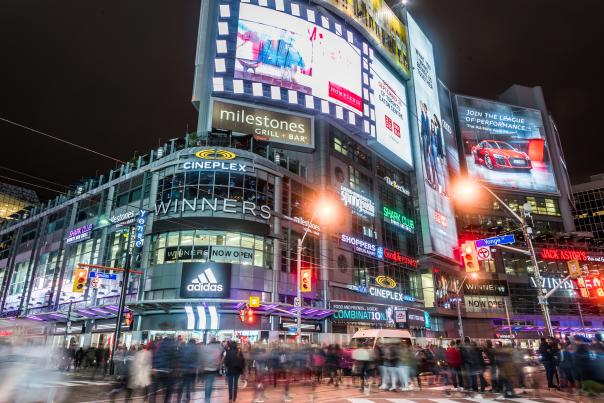 The lights and billboards of Yonge-Dundas Square at night