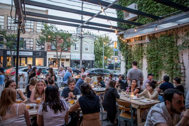The patio at Bellwoods Brewery in summer on Ossington Street