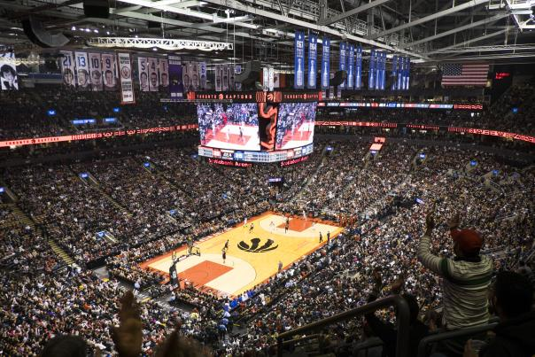 Toronto Raptors fans cheer on the team during a game at Scotiabank Arena