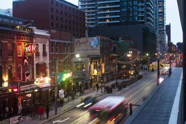 The restaurants and shops of King Street West entertainment district Toronto