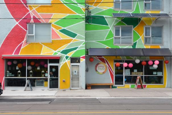 The colourful street art and shops of Toronto's Little India neighbourhood