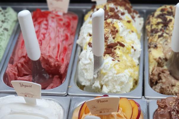 An ice cream and gelato counter