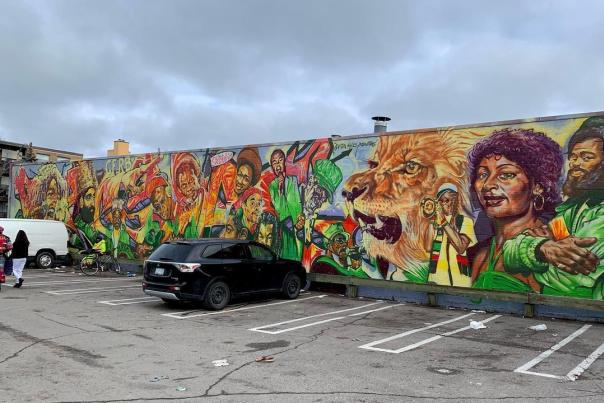 This mural in Reggae Lane (1529 Eglinton Ave W), celebrates Toronto's storied reggae music scene. The mural is 1200 sq ft and was painted by artist, Adrian Hayles. The mural is located in Little Jamaica, a neighbourhood which has been a long-standing hub for Toronto's sizeable Jamaican and Caribbean communities.