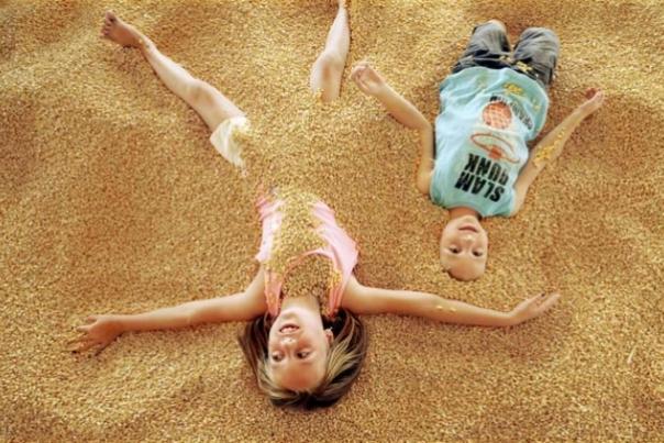 Kids in Corn Pit