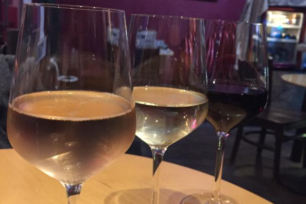 Wine flight at Niche Wine Bar
