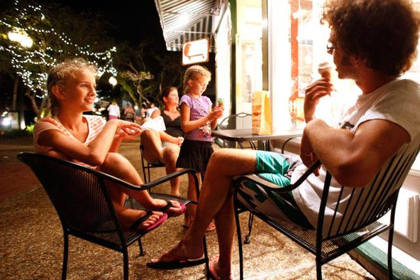 The Howell family eats ice cream outside of Fantastic Fudge, 218 Centre St., in downtown Fernandina Beach.