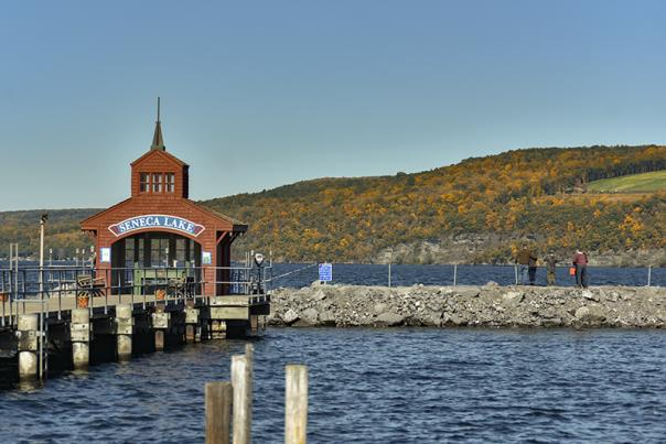 fall foliage and the pier