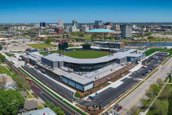 Aerial Shot of Riverfront Stadium and Downtown Wichita