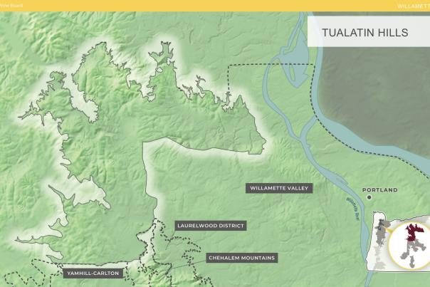 Tualatin Hills AVA map