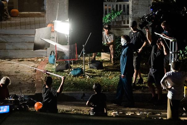 A film crew shoots at night on the streets on Wilmington, NC