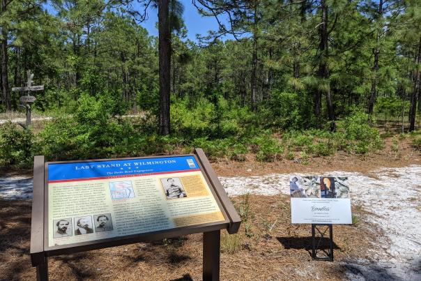 A marker provides info for visitors at the Battle of Forks Road Site.
