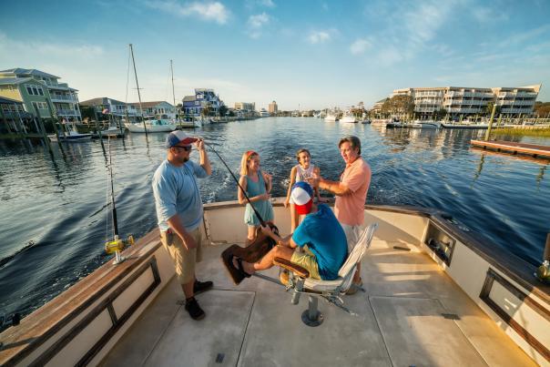 Family on a fishing boat in Carolina Beach