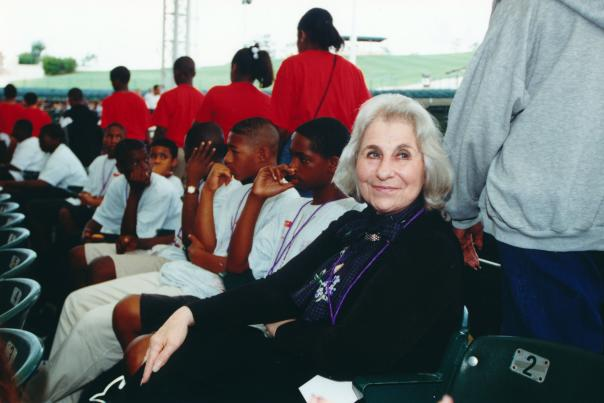 Cynthia Woods Mitchell with kids at The Pavilion