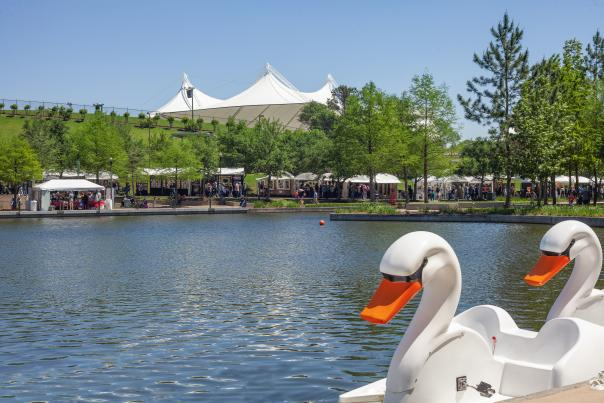 The Waterway with Pavilion and Swan Boat