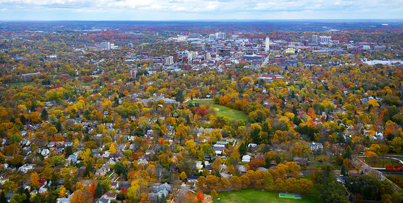 Ann Arbor aerial photo of fall colors