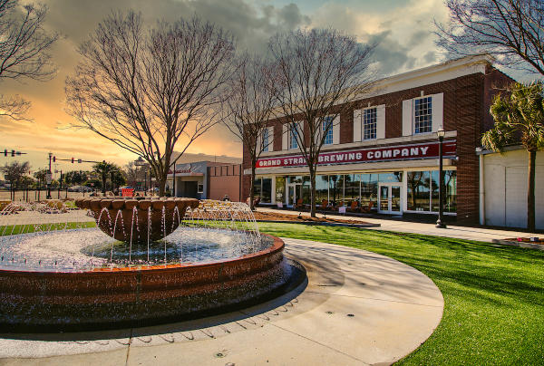 Grand Strand Brewing with fountain and plaza