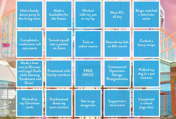 Bingo card for at home activities