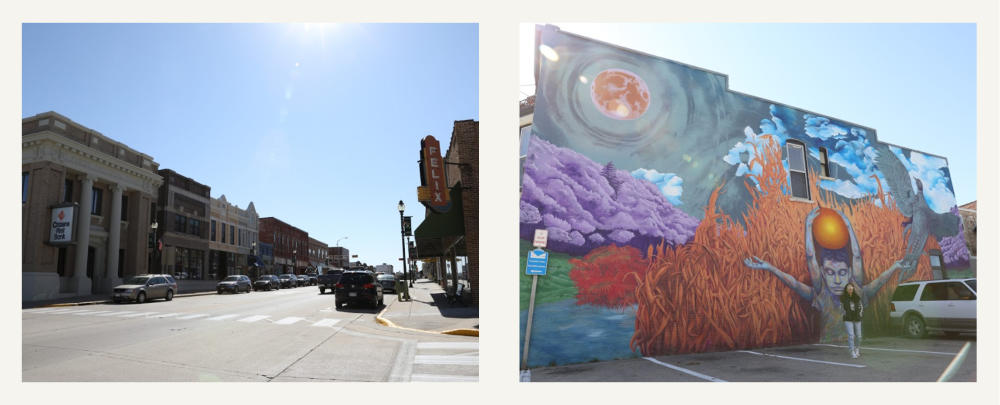 Cars Parked On The Street And A Mural In Downtown Viroqua, WI