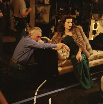 Kate Beckinsale on set of The Aviator with director Martin Scorsese.