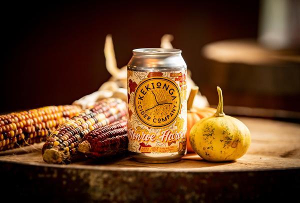 A can of Monroe Harvest Hard Cider at Kekionga Cider Company in Fort Wayne