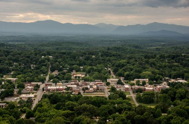 Overlooking the historic town of Rutherfordton, North Carolina.
