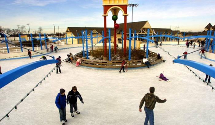 Visitors enjoy time on the ice at the Deep River Waterpark Plaza.
