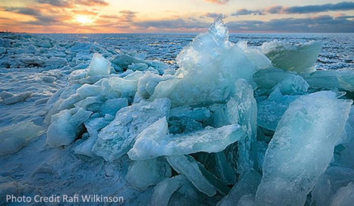 Shelf Ice along the shores of Lake Michigan create an other-worldly landscape.