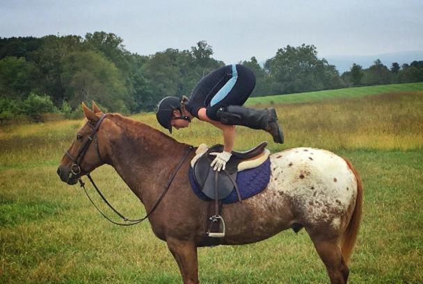 Angela Nunez horse yoga pose