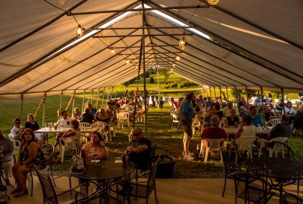 inside tent - wine cave