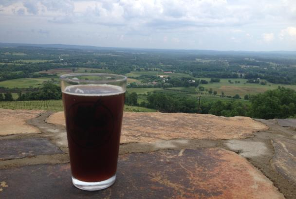 Great view with a beer on the terrace of Dirt Farm Brewing