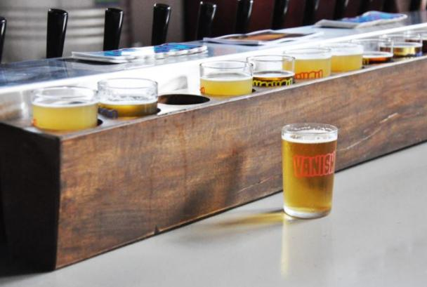 Beer flights at Vanish Brewery
