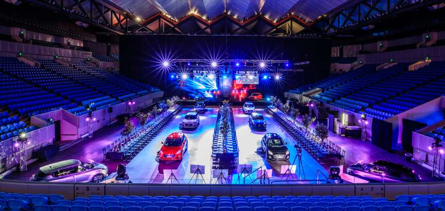 Business Event at Melbourne and Olympic Parks stadium with cars and dining tables