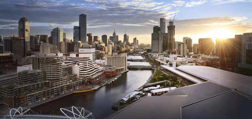 Melbourne during sunrise, showing Yarra River and city skyline