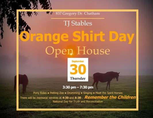 TJ Stables Orange Shirt Day Open House