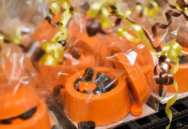 Candy pumpkins from Schimpff's Confectionery in Jeffersonville, IN are wrapped up in festive cellophane.