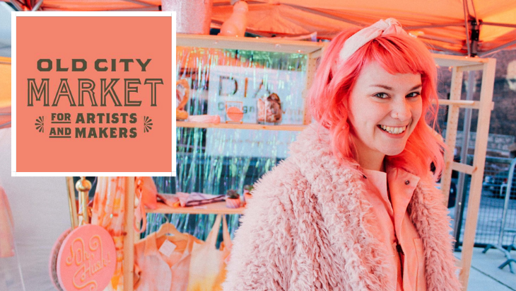 Woman dressed in pink with pink hair at the Old City Market